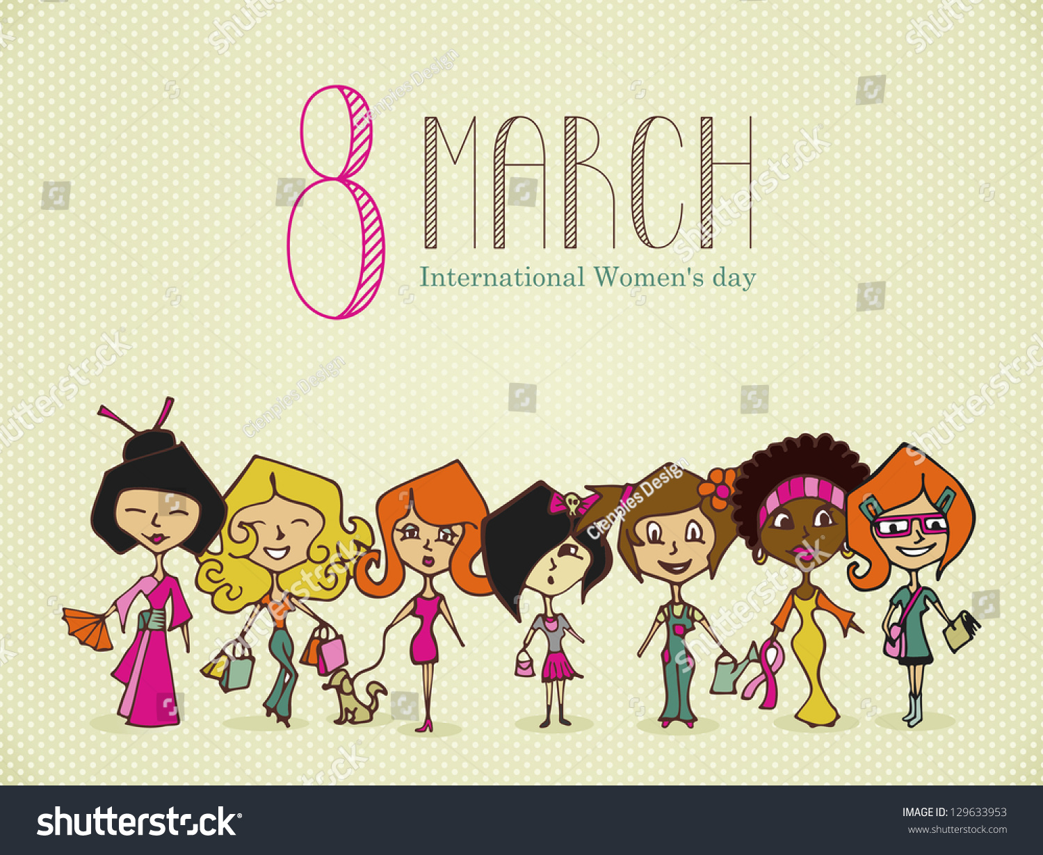 Different cultures women 8 march woman stock illustration 129633953 different cultures women in 8 march woman day greeting card m4hsunfo Images