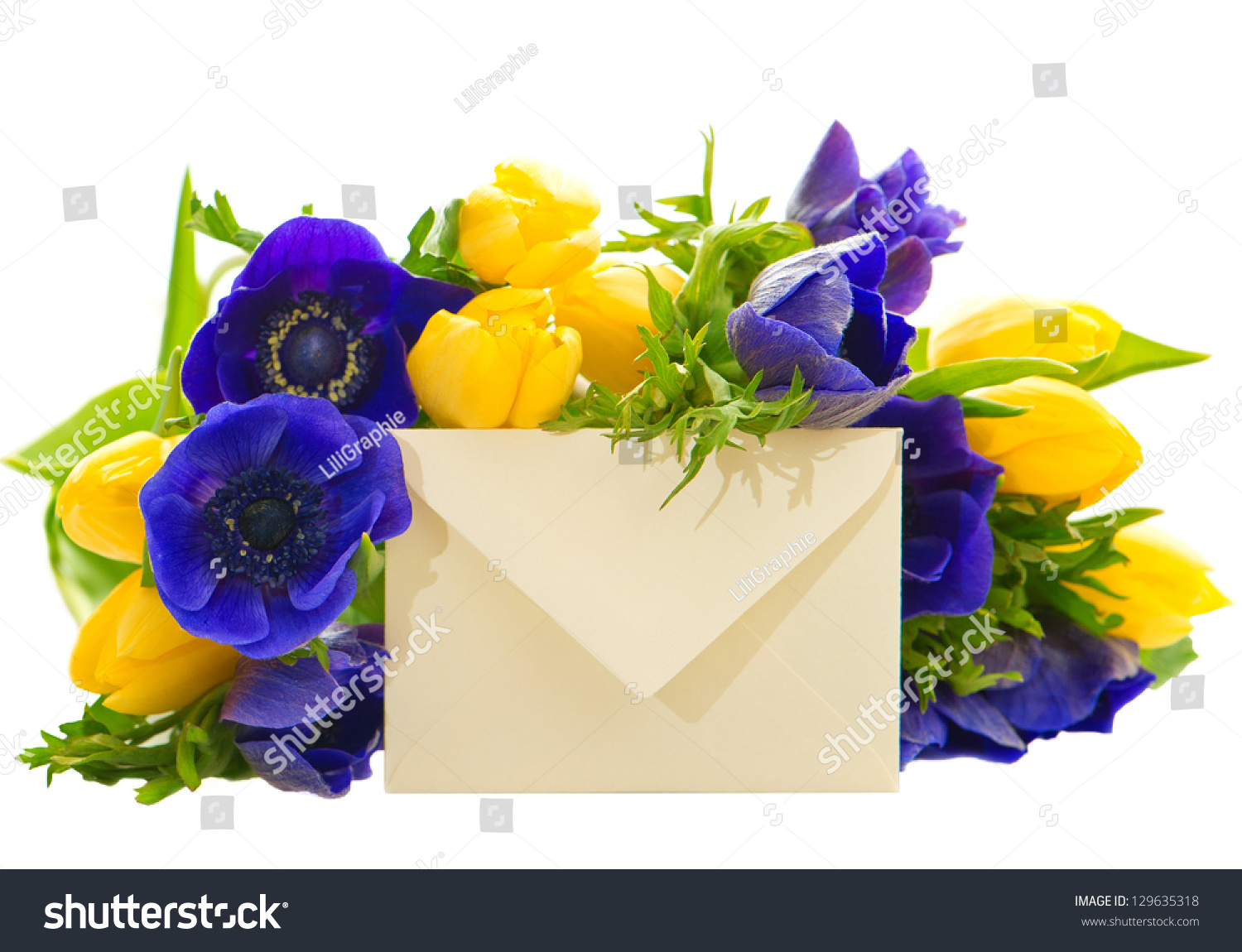 Colorful flowers bouquet gift card yellow stock photo 129635318 colorful flowers bouquet with gift card yellow tulips and blue anemone on white background izmirmasajfo Image collections