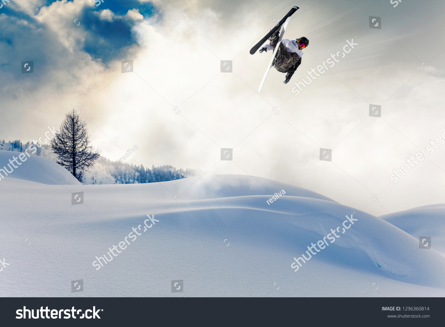ski jump in fresh snow #1296360814