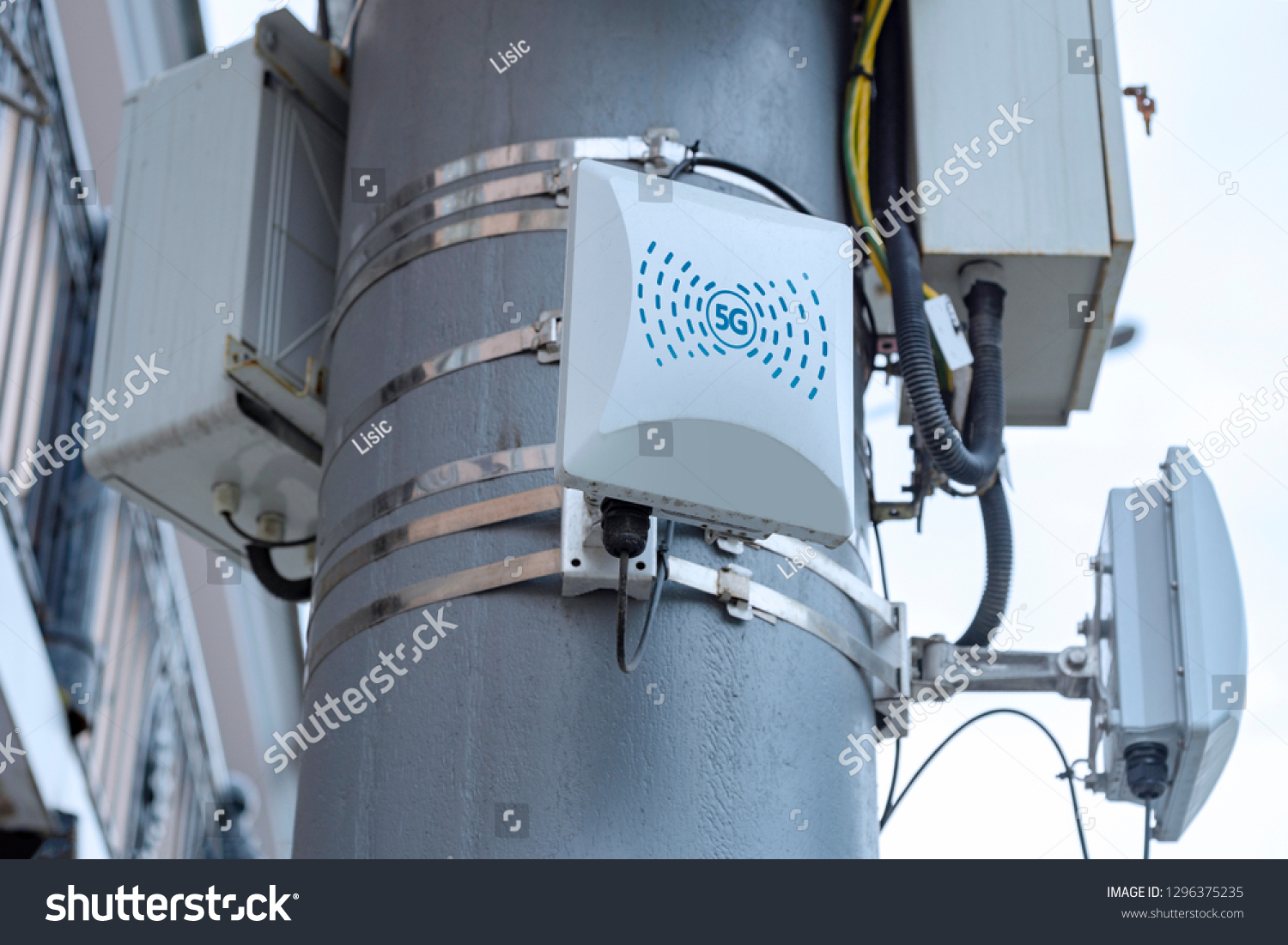 5G cellular repeaters on the pole #1296375235