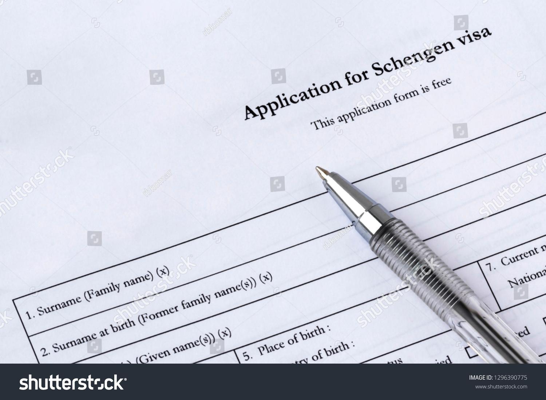 Filling Out Schengen Visa Application Form Stock Photo Edit Now 1296390775