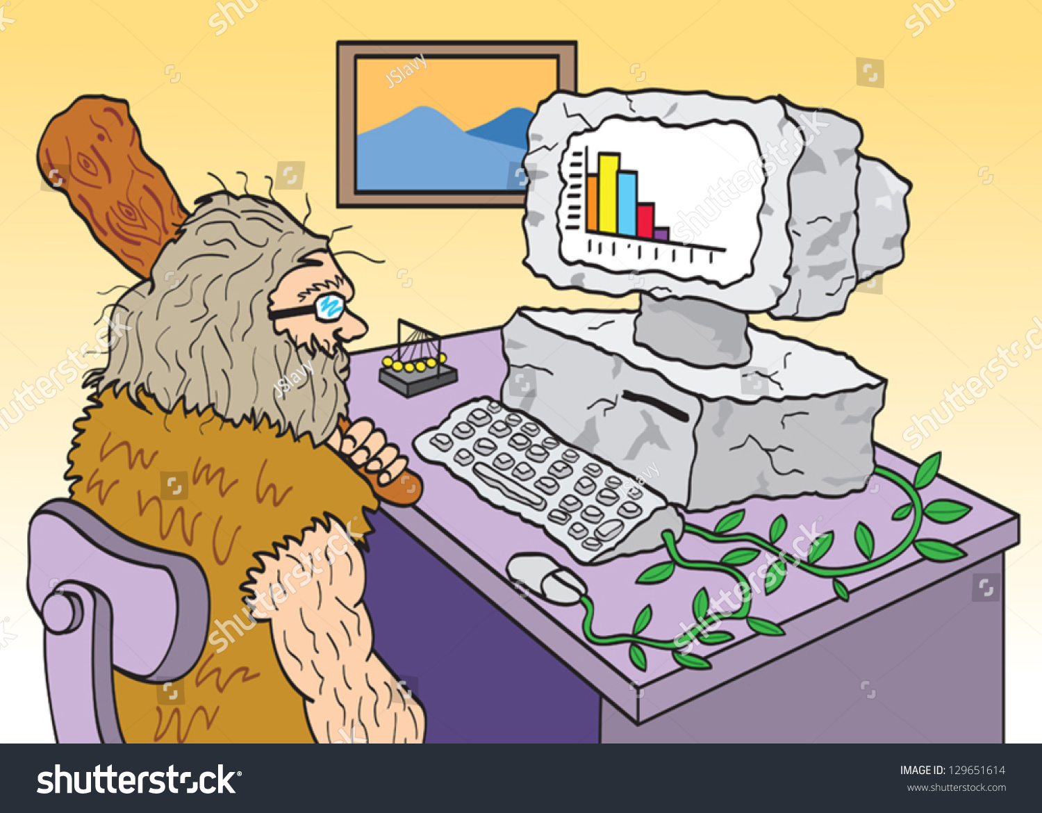Caveman Phone : Caveman using old outdated computer stock photo vector