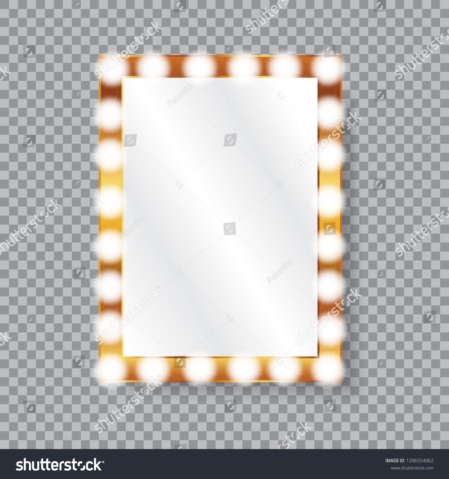 Rectangle Vanity Mirror Light Bulbs Golden Stock Vector Royalty Free 1296554062