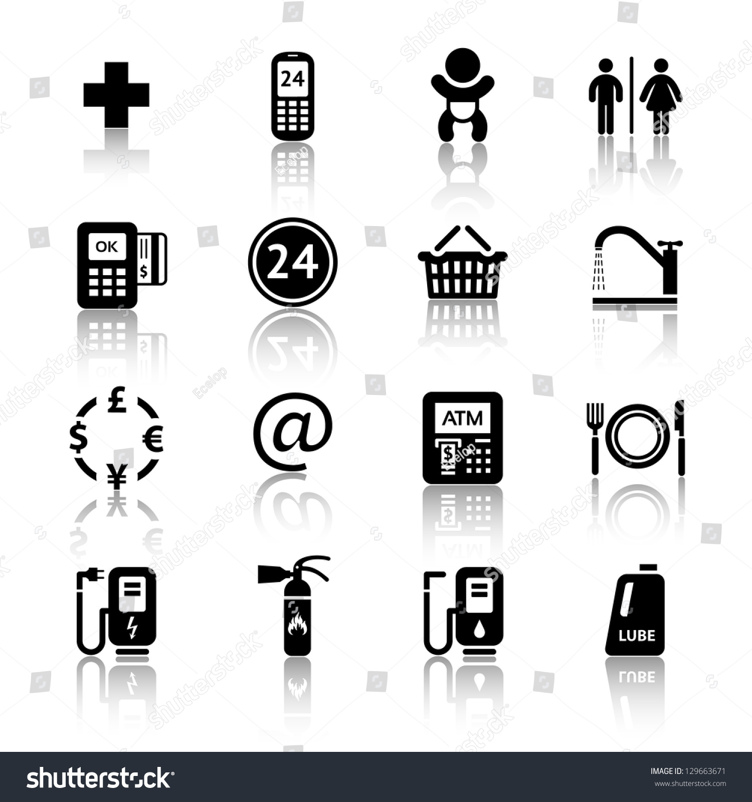 Gas Station Icons Symbols Roadside Services Stock Vector - Car signs and symbols