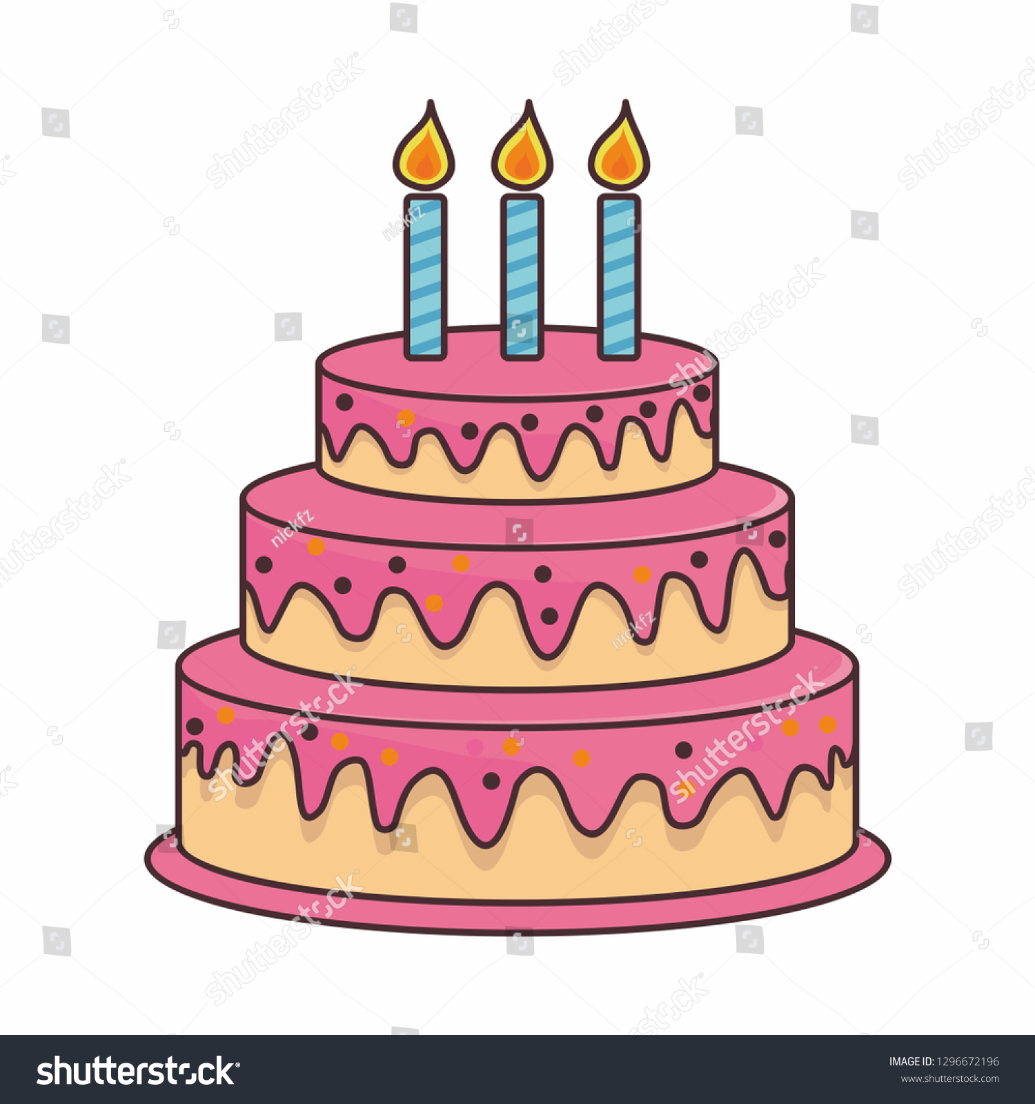 Birthday Cake Cartoon Illustration Stock Vector Royalty Free 1296672196