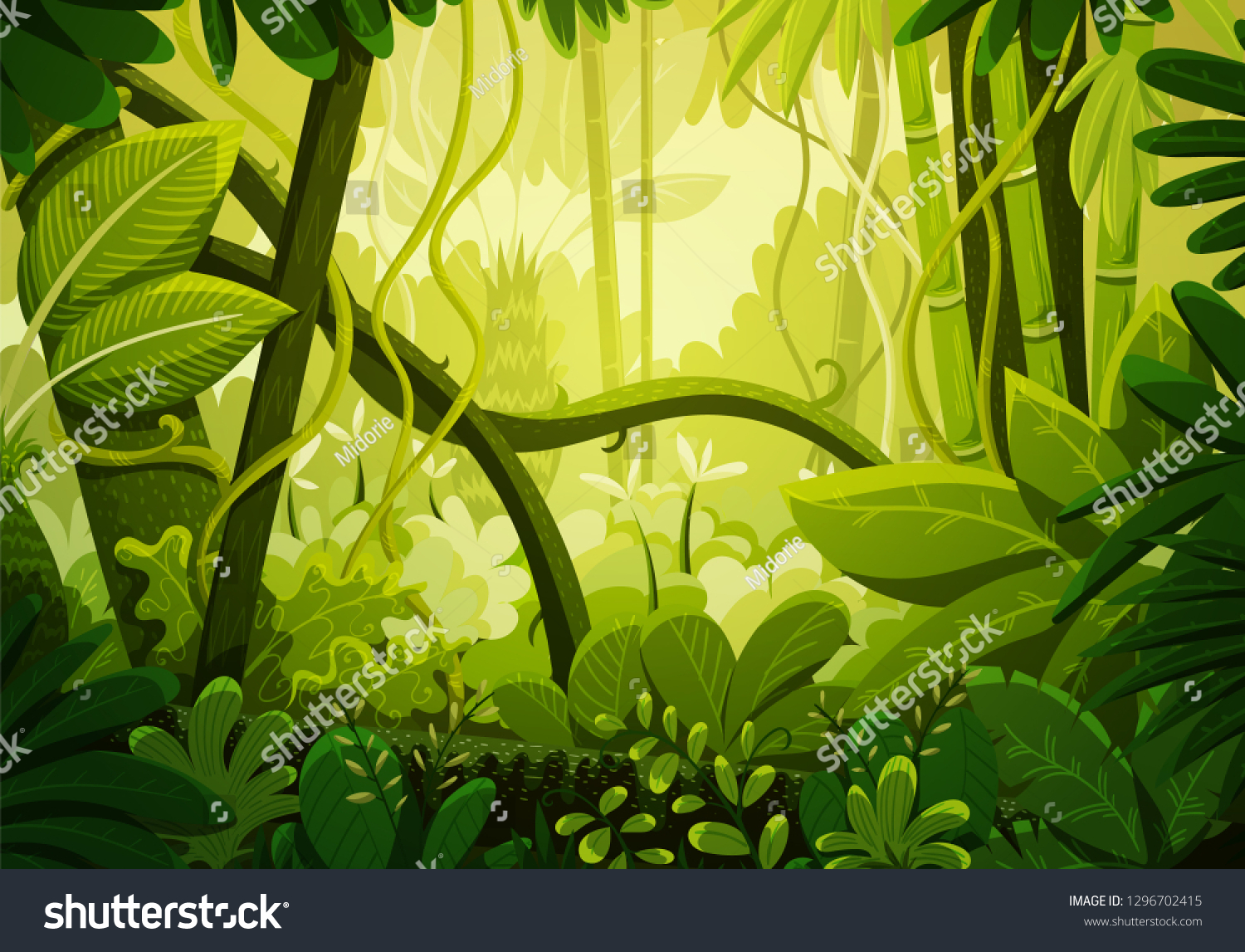Vector illustration of tropical jungle background. Rainforest with dense vegetation of trees, bushes and lianes. Landscape with green colors.