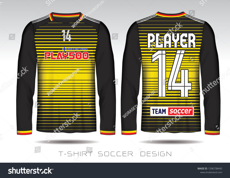 476fb3ef02f Black Yellow Layout Football Sport Tshirt Stock Vector (Royalty Free ...