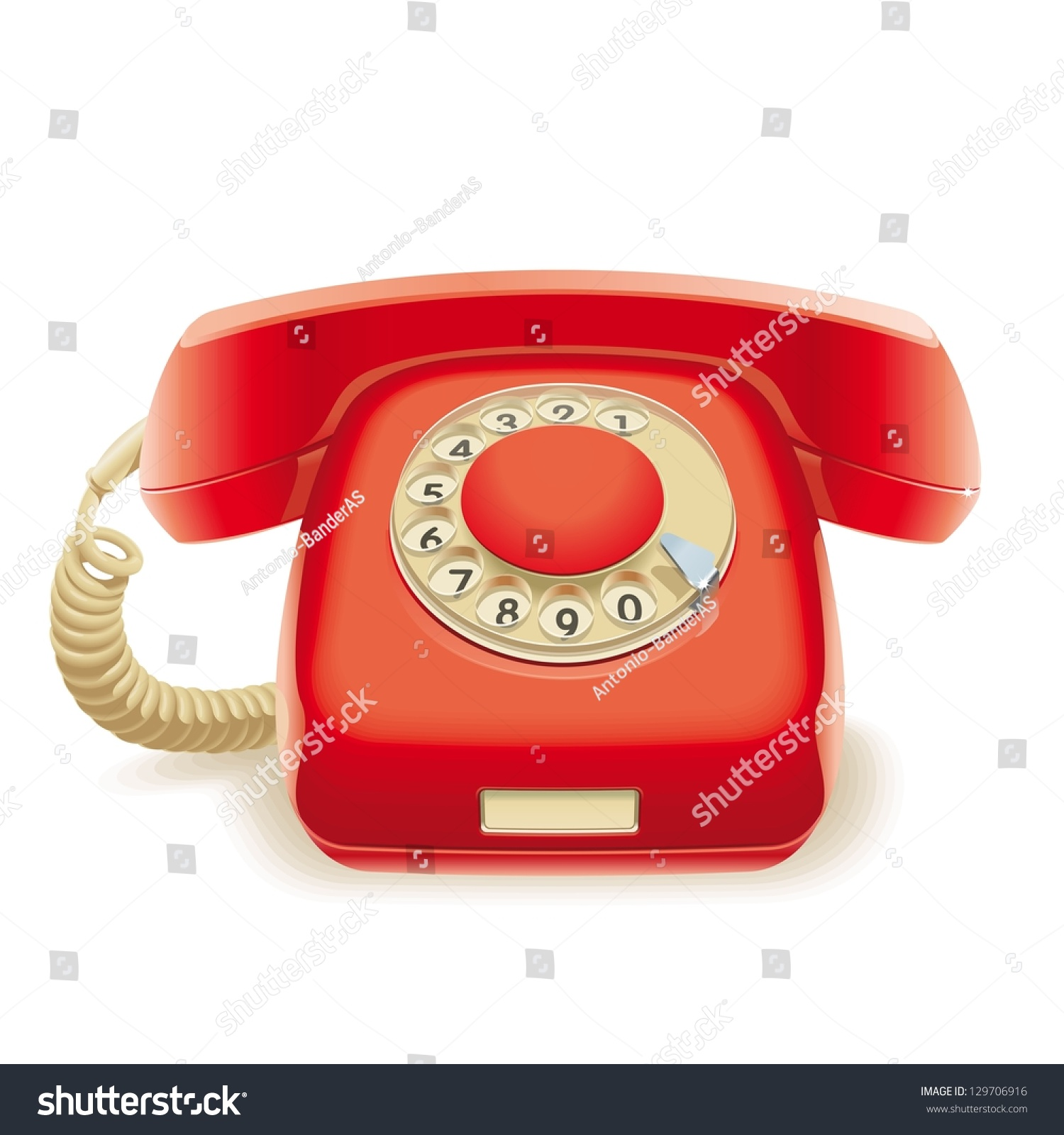 Old Red Phone Realistic Illustration Stock Vector Royalty Free Telephone Handset Wiring Of Disk Retro To The Wire