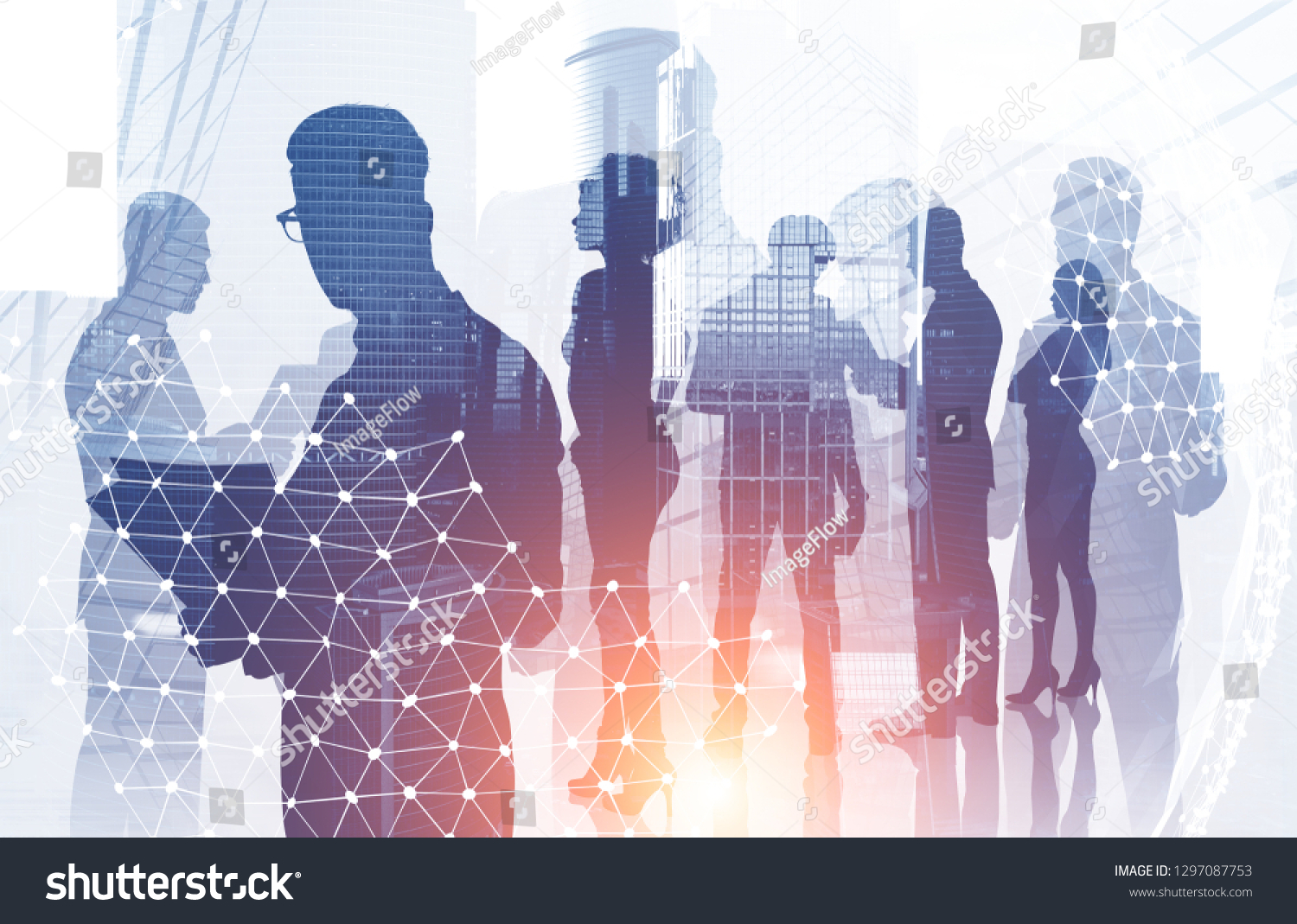 Diverse manager team members silhouettes over modern cityscape background with double exposure of planet hologram. International company concept. Toned image #1297087753
