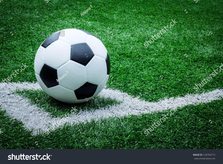 Soccer Ball On Soccer Field Stock Photo 129709715 ...