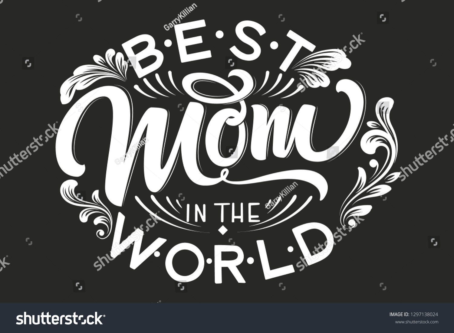 Hand drawn lettering best mom in the world with floral decoration elegant modern black and