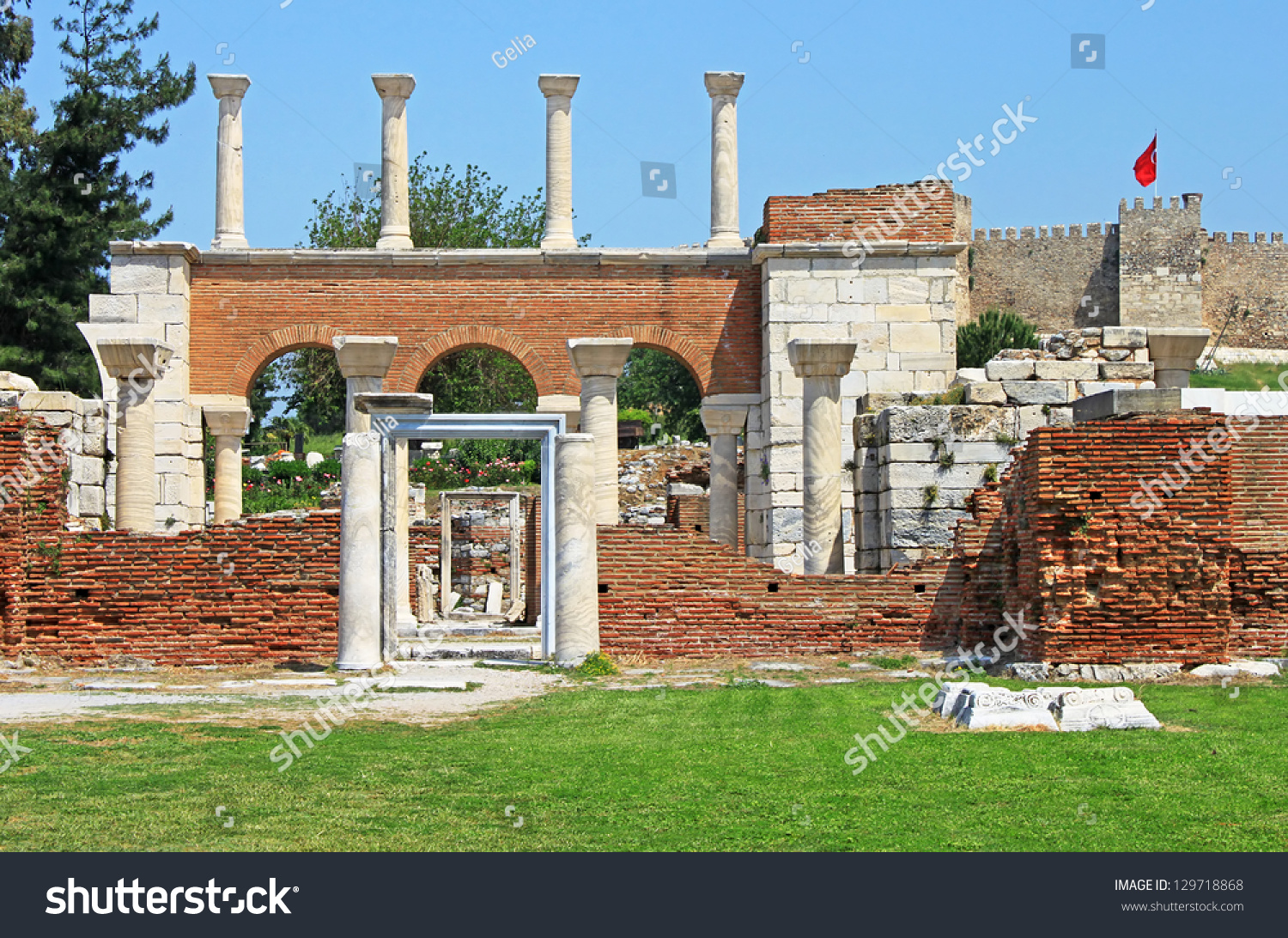 Ruins St Johns Basilica Roman Fortress Stock Photo ...