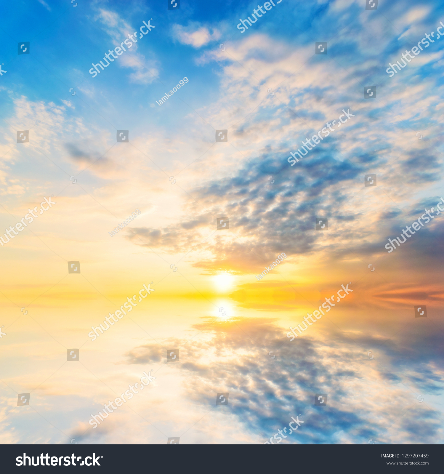 Background sky during sunset and water reflections. #1297207459