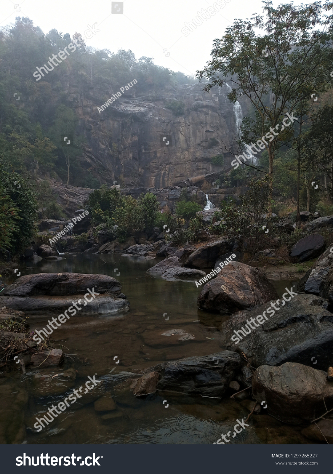 Beautiful Sitafalls Ranchi India Winter Season Stock Photo