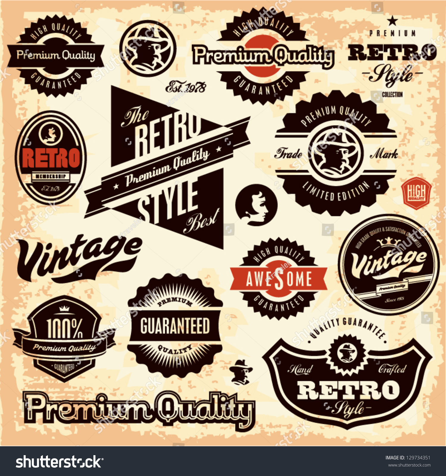 Premium Quality Badge And Banner Collection Vectors: Retro Labels Vintage Labels Collection Premium Stock