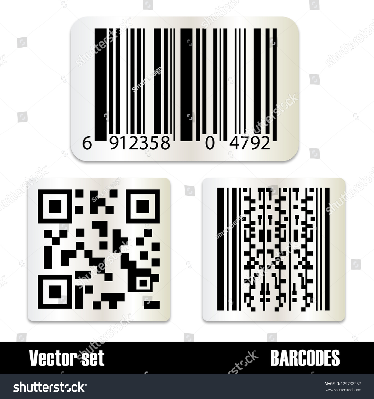Set standard barcodes isolated on white stock vector