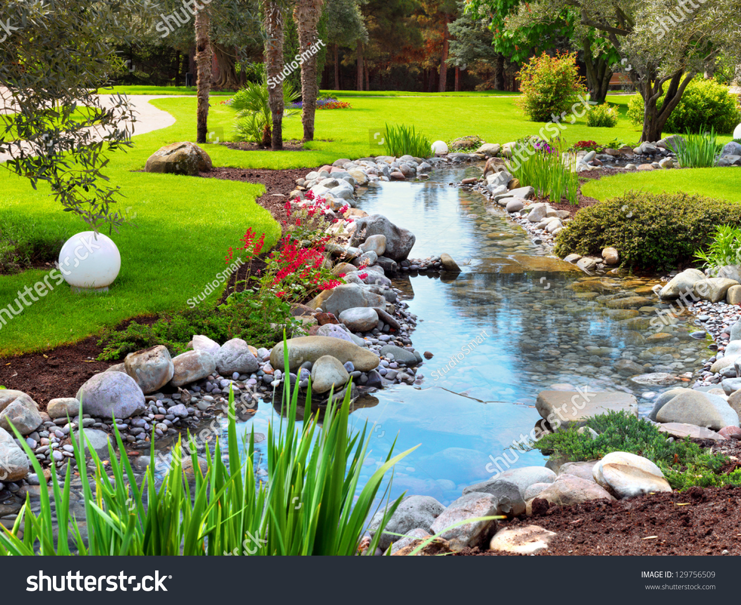 Spring flowers asian garden pond stock photo 129756509 for Garden pond videos