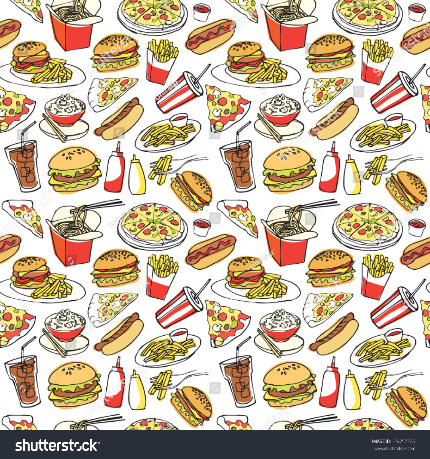 Fast Food Seamless Background Stock Vector 129757226