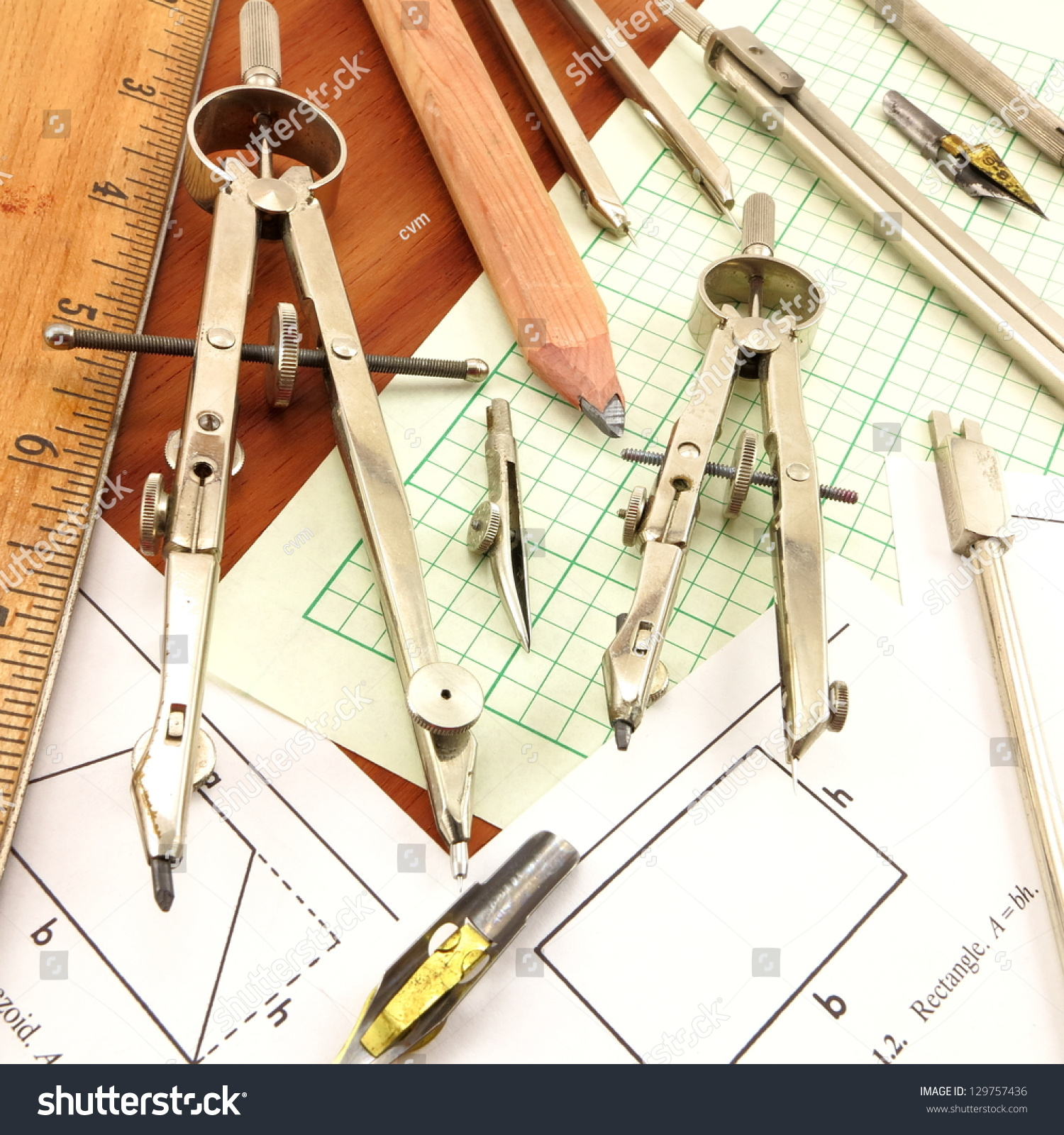 Design Time Conglomerate Antique Drafting Tools Stock Photo (Royalty ...