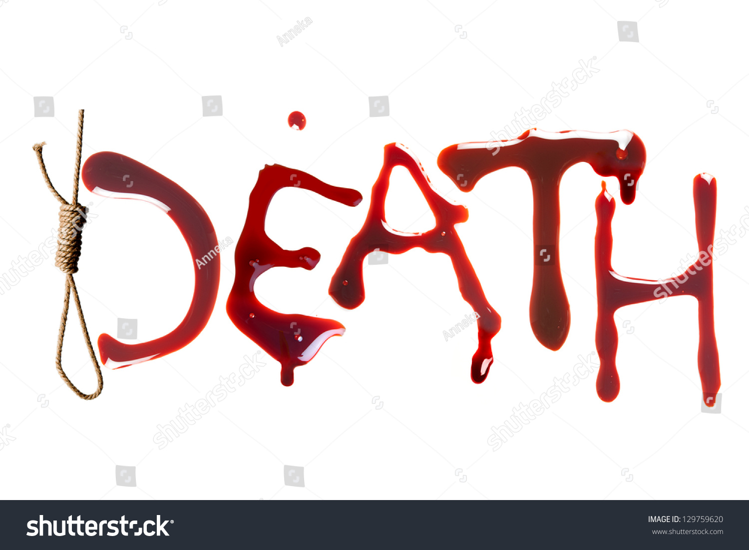 Noose Bloody Letters Symbol Death Stock Photo Edit Now 129759620
