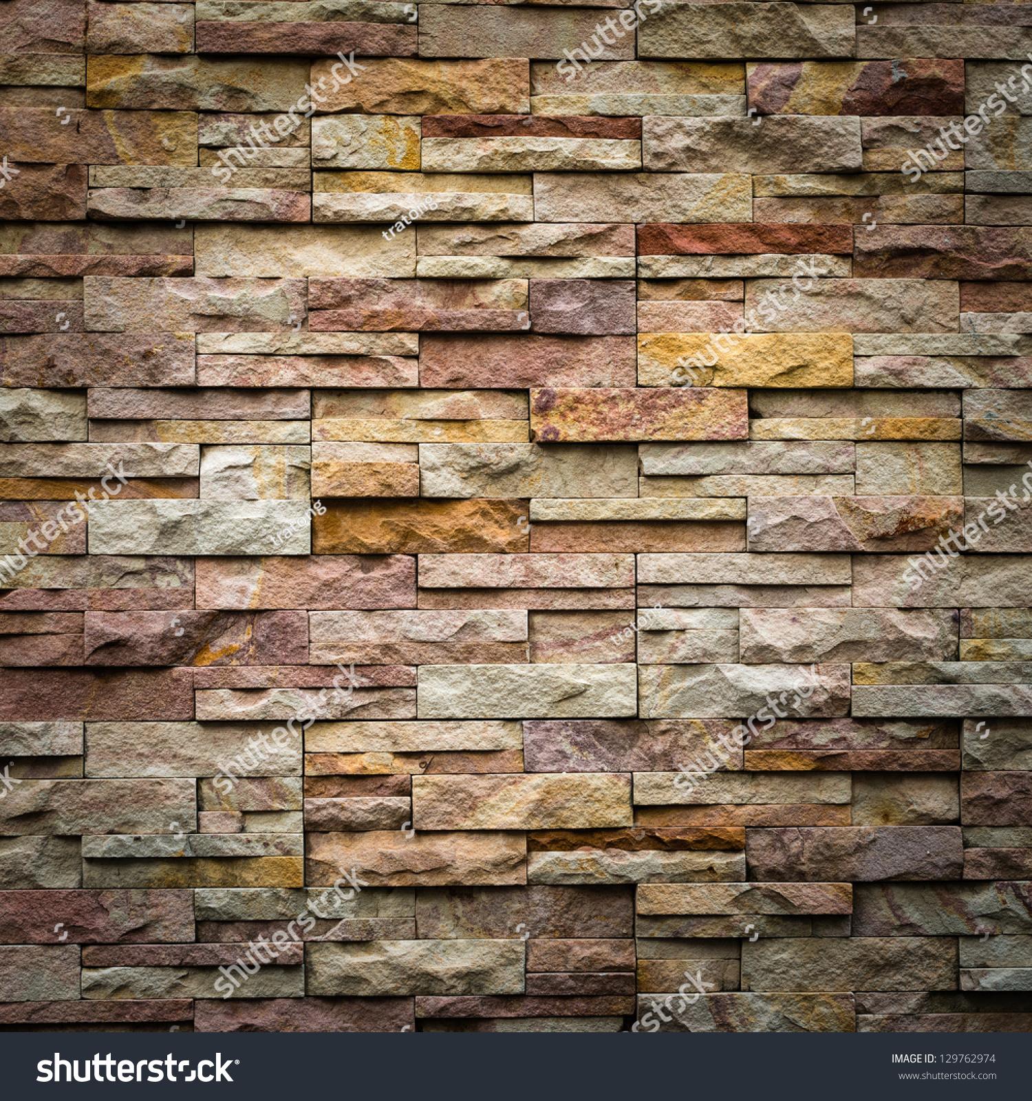 Pattern Decorative Slate Stone Wall Surface Stock Photo