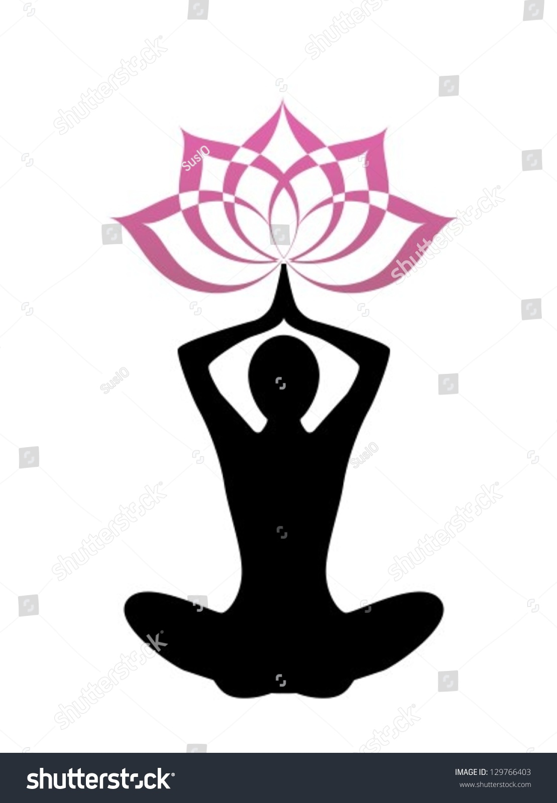Female Silhouette Yoga Above Her Head A Lotus Flower Ez Canvas