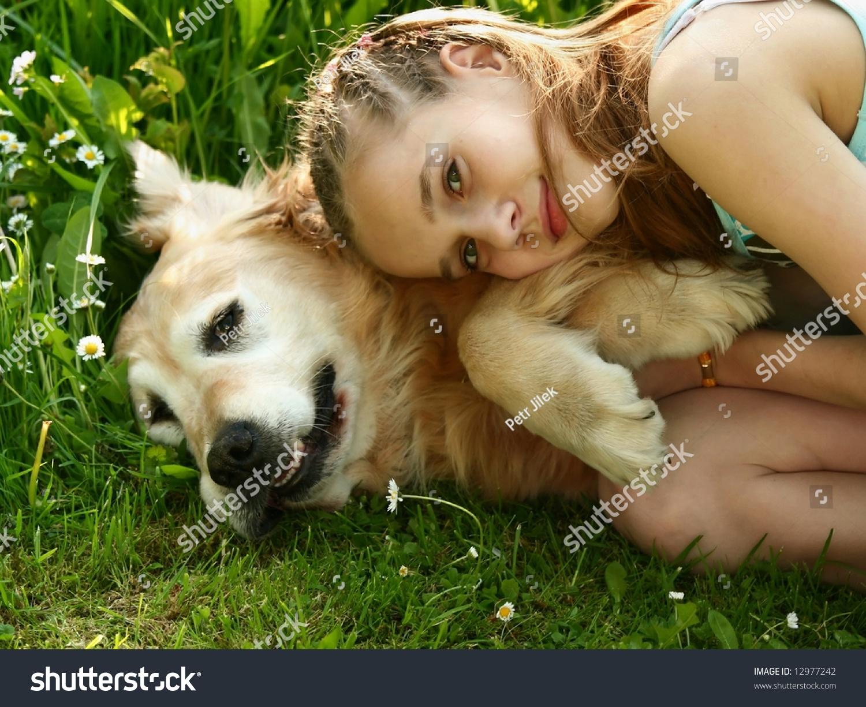 Little Girl Hugging Big Dog Outdoor Stock Photo 12977242 -1138
