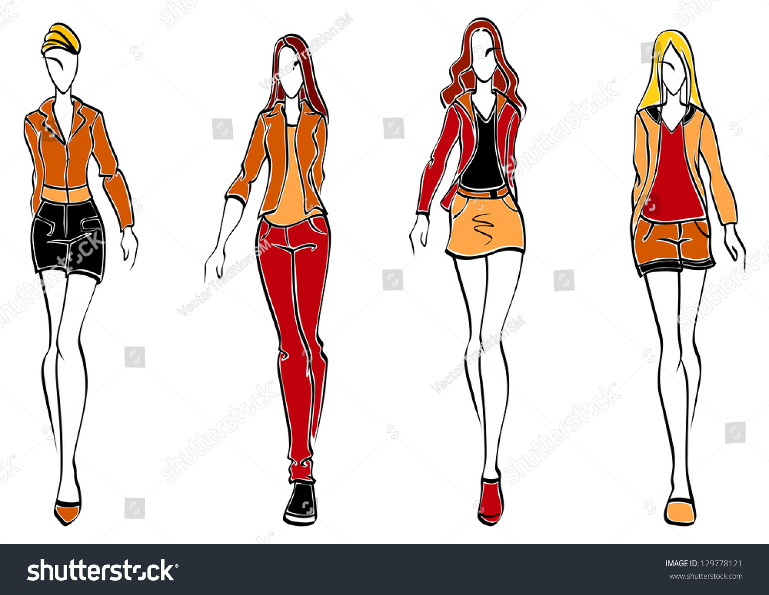 Casual Fashion Models Sketch Style Teenager Stock Vector 129778121 Shutterstock