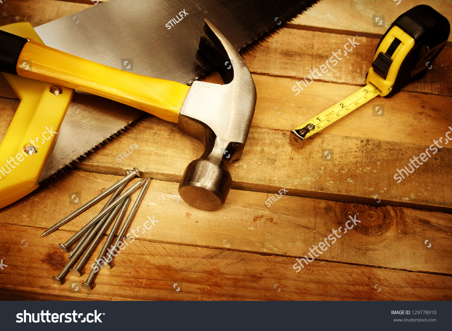 Hammer Nails Tape Measure Saw On Stock Photo 129778910 ...