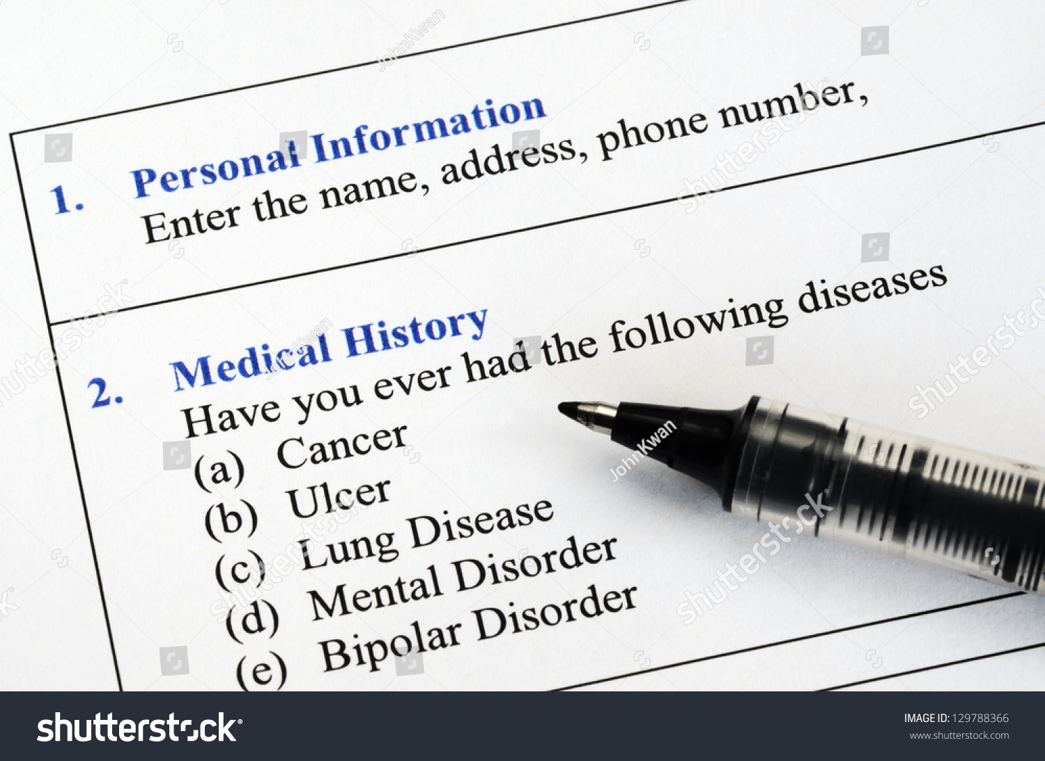 medical history questionairre