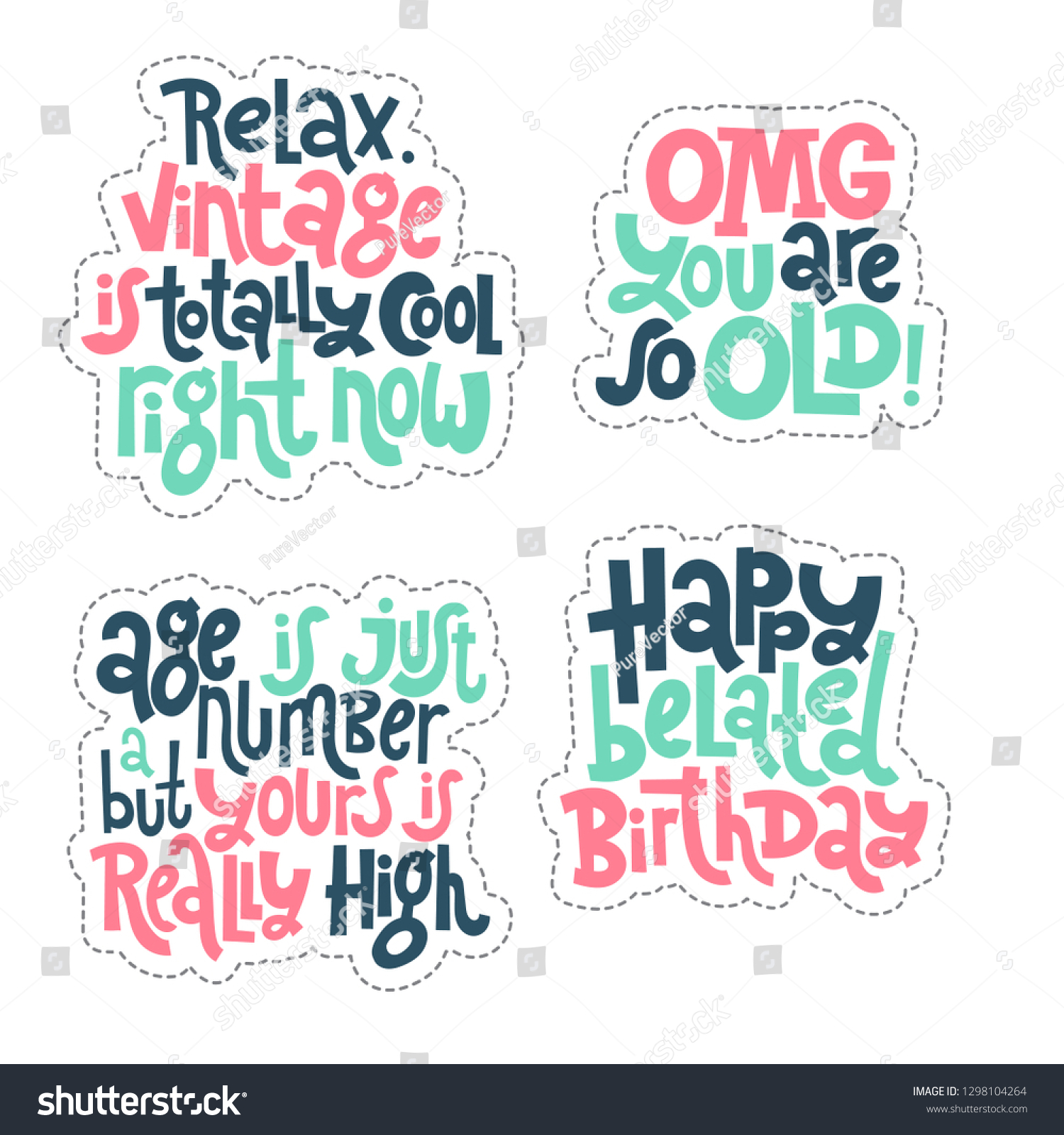 c1ae0c2f4 Sticker set design template with hand drawn vector lettering. Comic phrases  about birthday in the