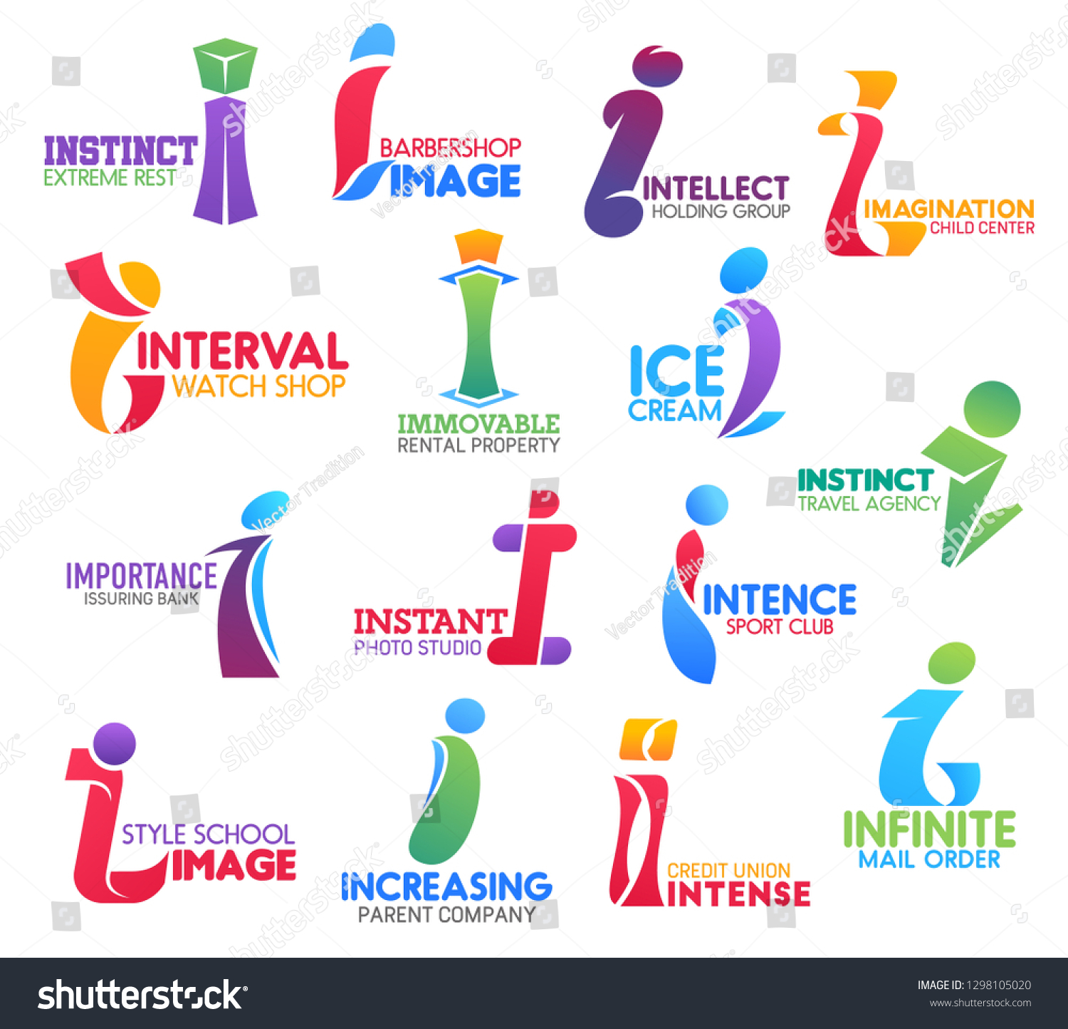 Corporate Identity Letter Business Icons Vector Stock Vector