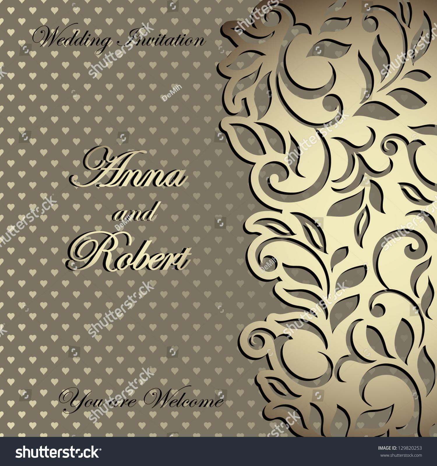 elegant stylish wedding invitation florallace design のベクター画像