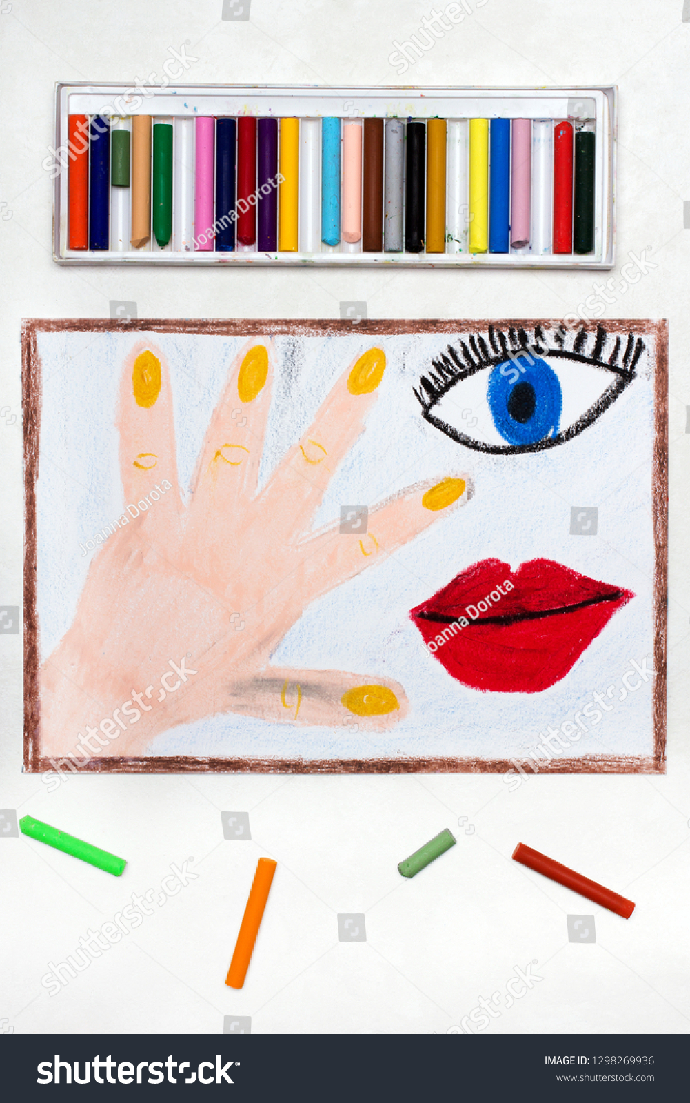 Colorful drawing human body parts hand stock photo edit now