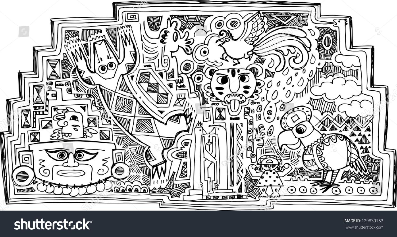 Maya decoration precolumbian animals symbols faces stock vector maya decoration with precolumbian animals symbols and faces buycottarizona
