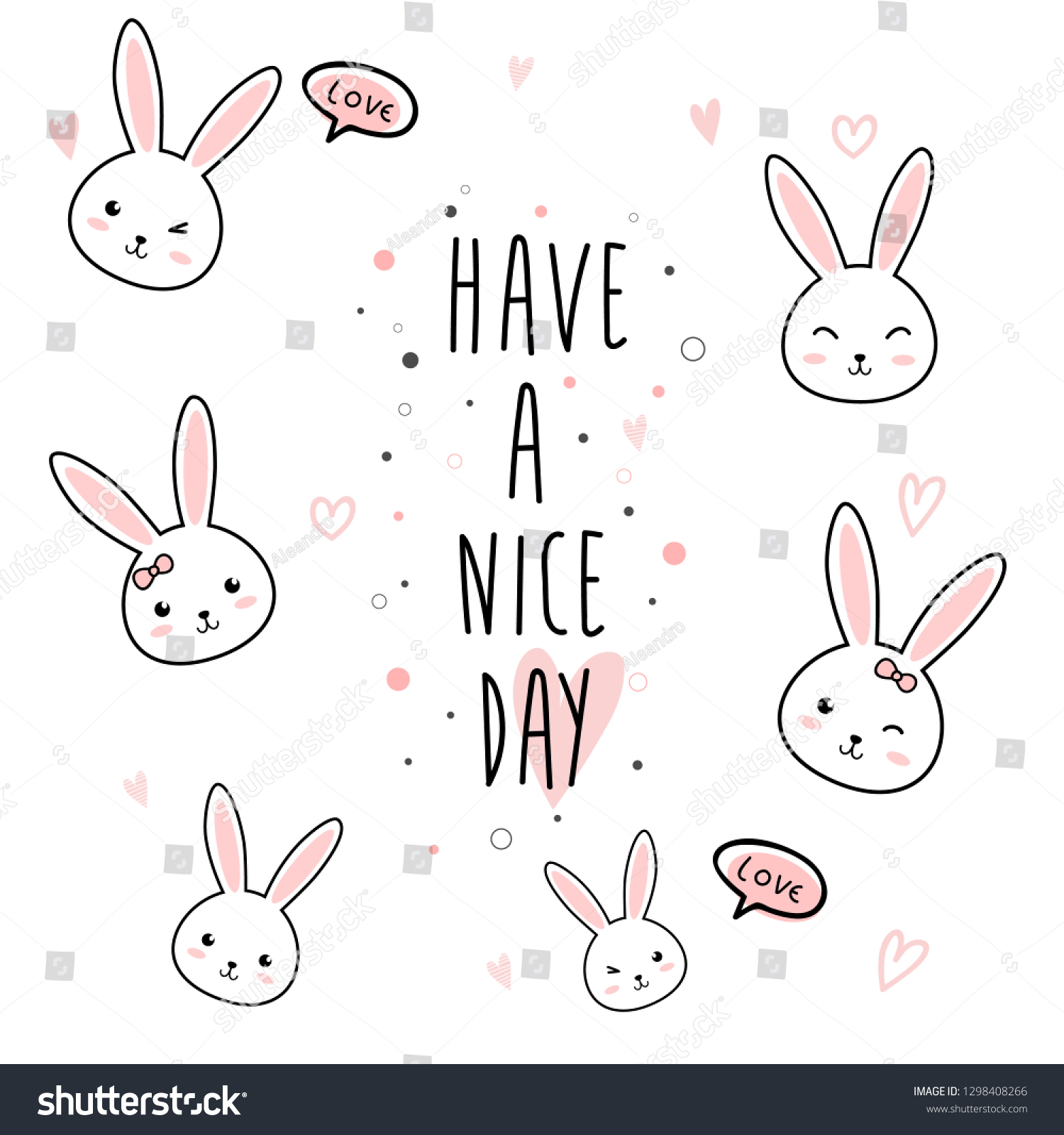 Cute Kawaii Adorable Rabbit Bunny Cartoon Stock Vector Royalty