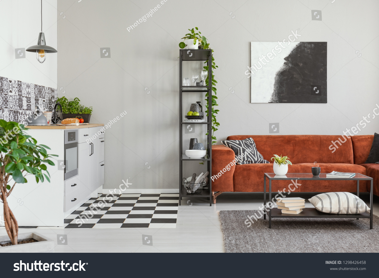 Industrial Coffee Table Front Brown Velvet Stock Photo Edit Now 1298426458