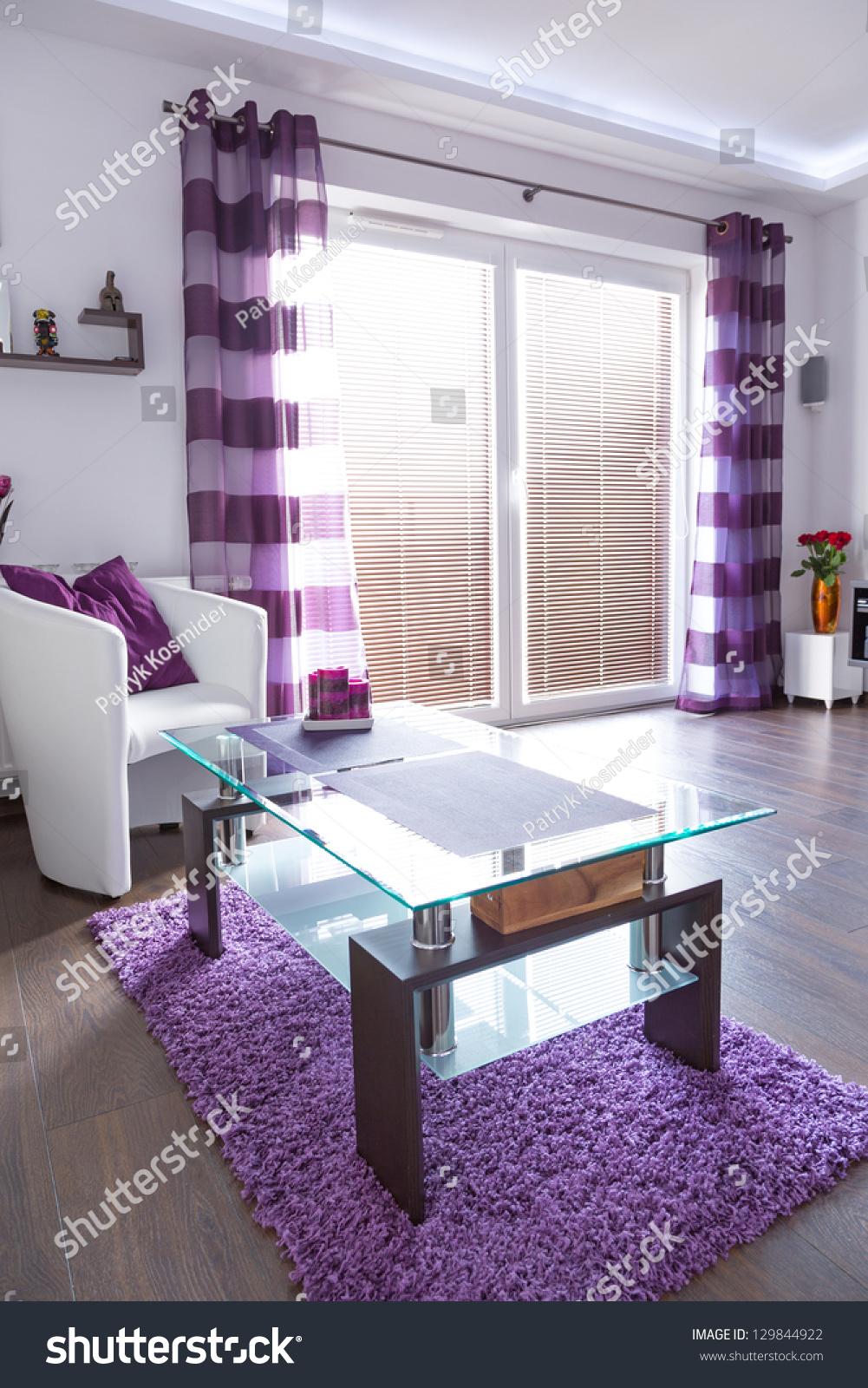 Modern White Living Room Interior Purple Buildings Landmarks Stock Image 129844922