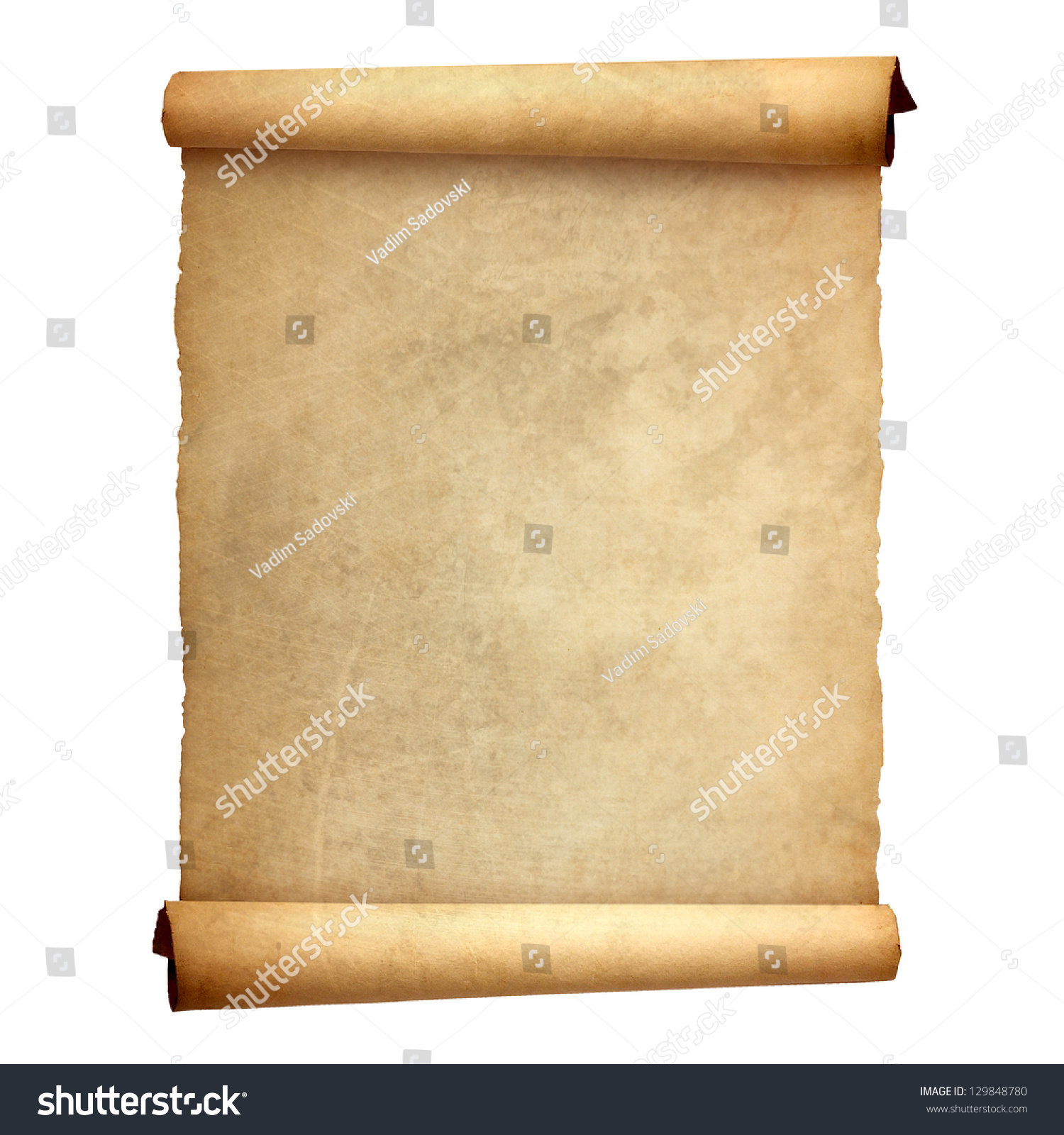 Antique Scrollimgs: Old Vintage Scroll Isolated On White Stock Photo 129848780