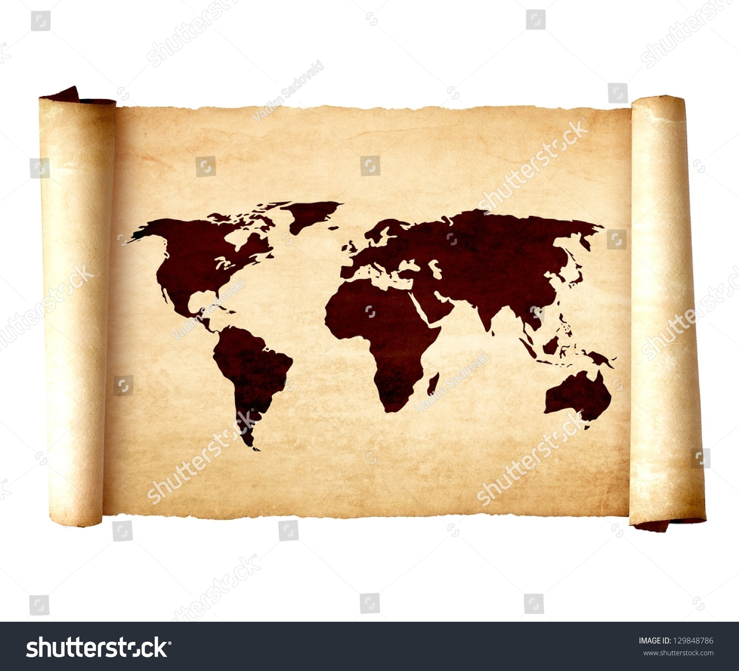 Antique Scroll Map: Old Vintage Scroll World Map Isolated Stock Photo