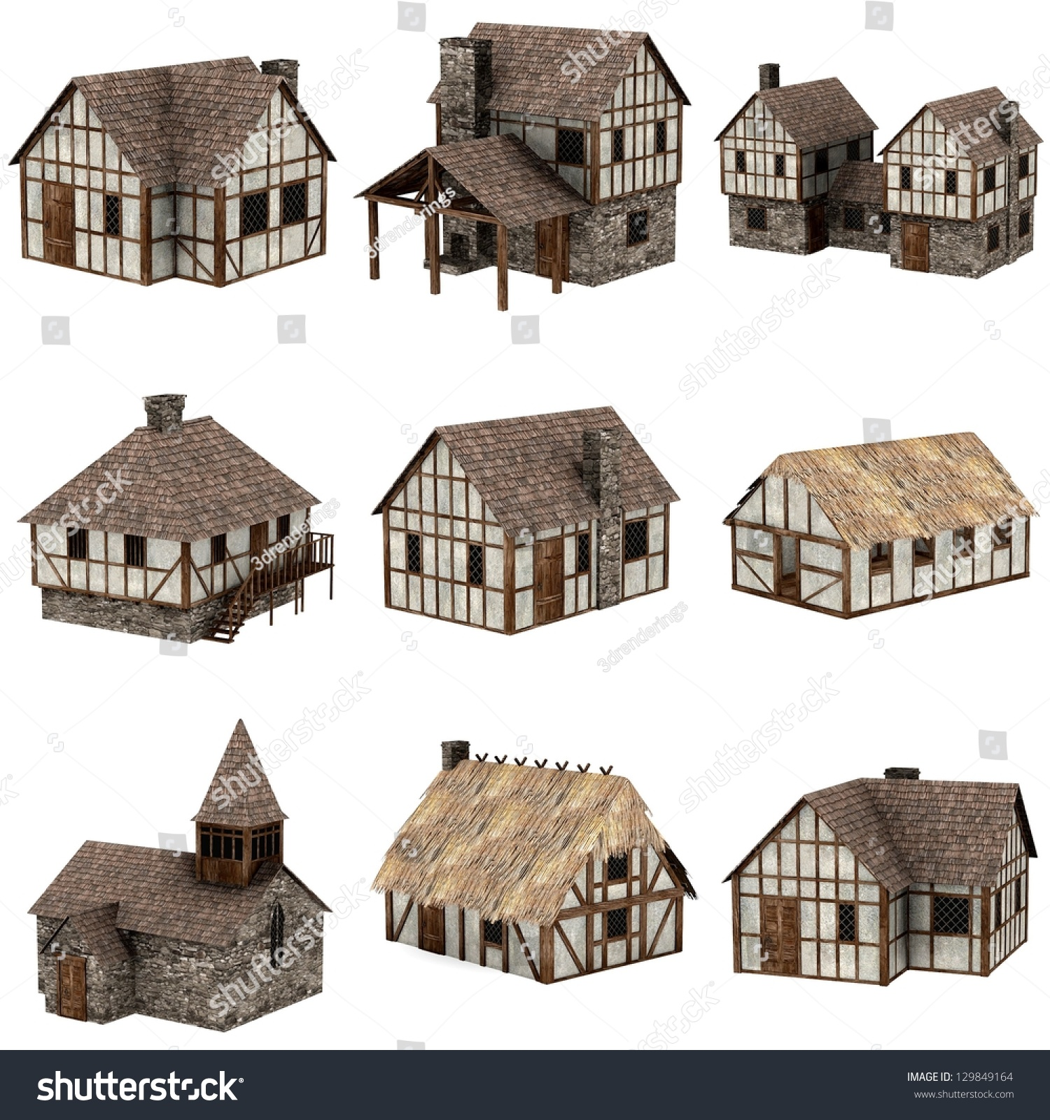 Collection Medieval Houses 3d Stock Illustration 129849164