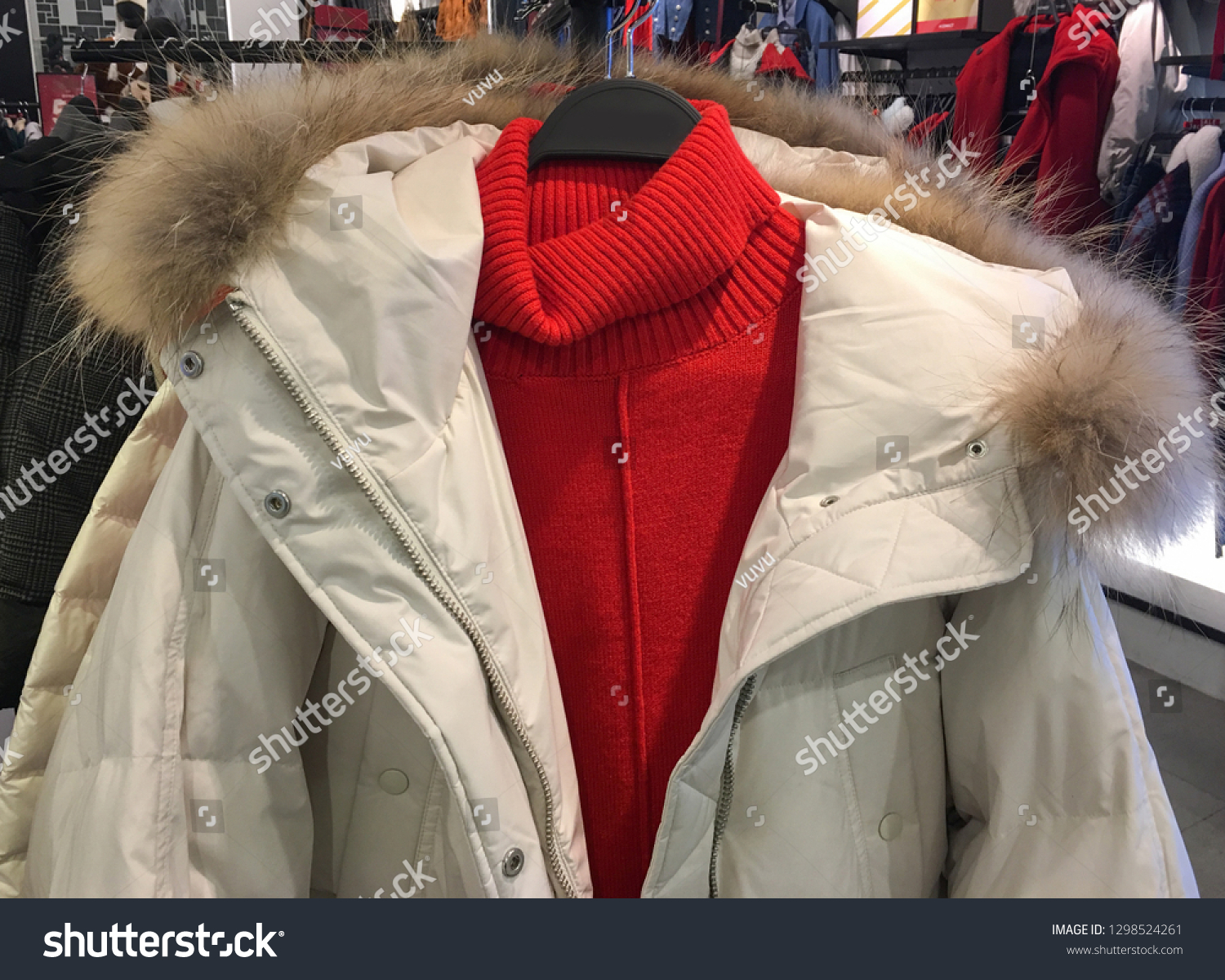 b716bf61c Jacket Winter Sale On Clothes Rack Stock Photo (Edit Now) 1298524261 ...