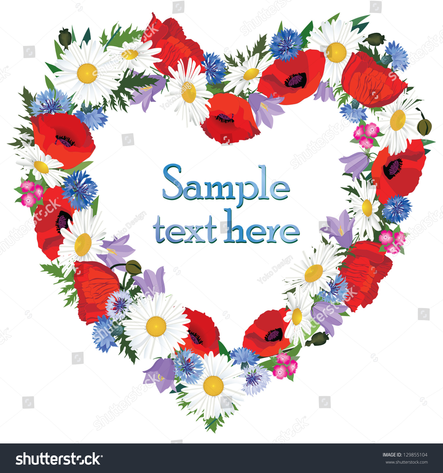 Flower Frame Greeting Card Floral Border Stock Vector (Royalty Free ...
