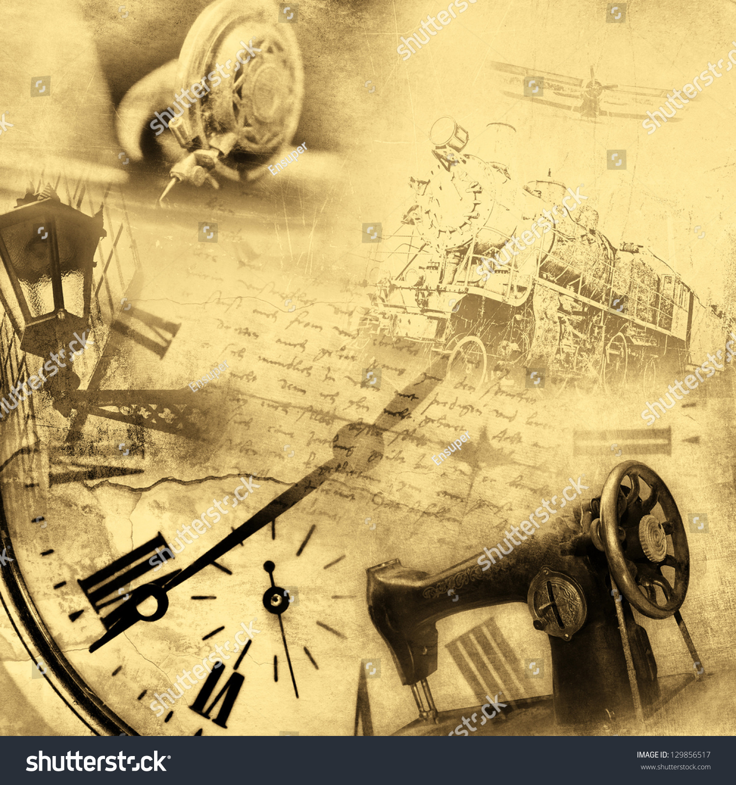Vintage Background Sepia Retro Collage Stock Illustration ...