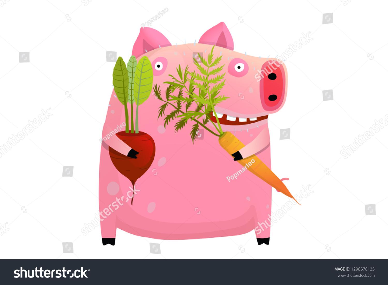07d5feab5d852 Fat Pig Eating Smart Vegetable Diet. Vegetables dieting big pig healthy  happy smiling with teeth