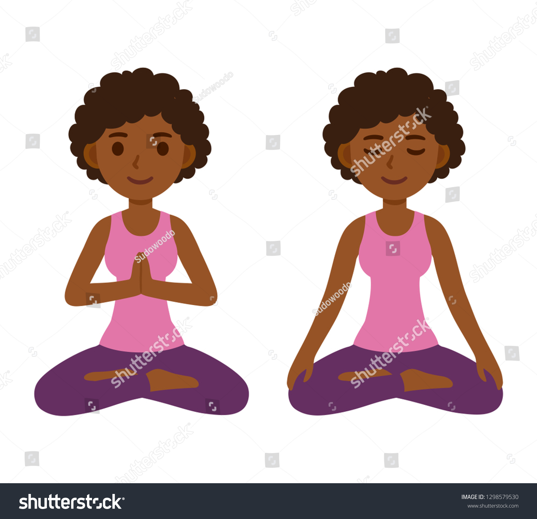 Cute Cartoon Black Girl Doing Yoga Stock Vector Royalty Free 1298579530