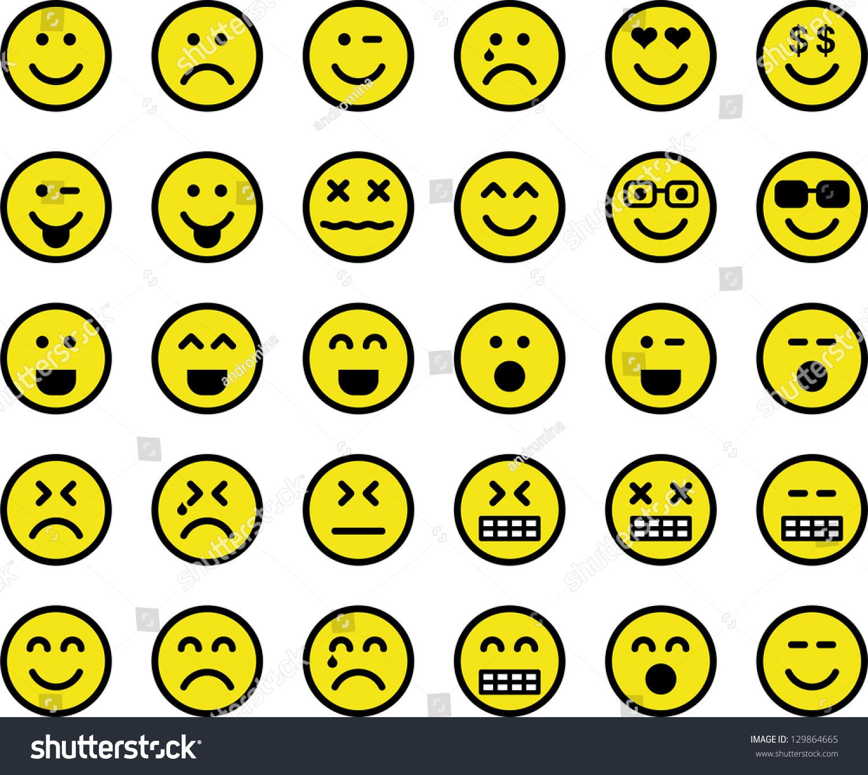 Emoticons Stock Vector 129864665 - Shutterstock