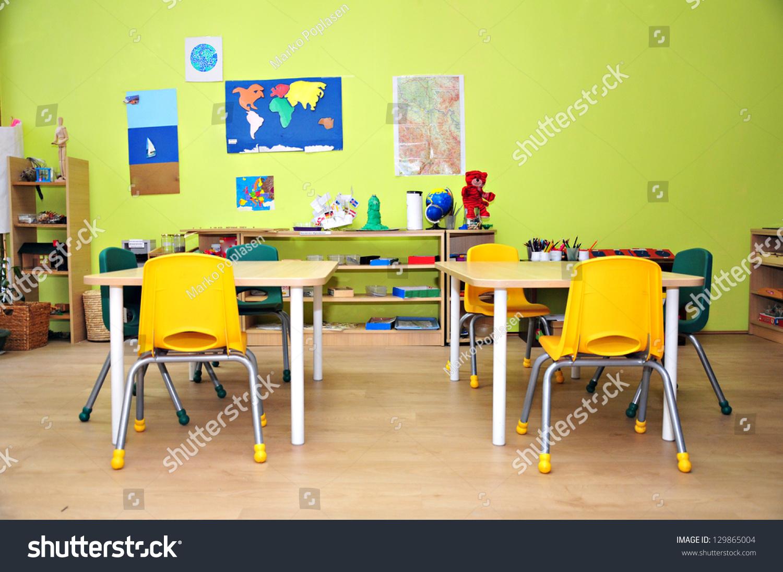 Z Classroom Design ~ Kindergarten preschool classroom interior stock photo