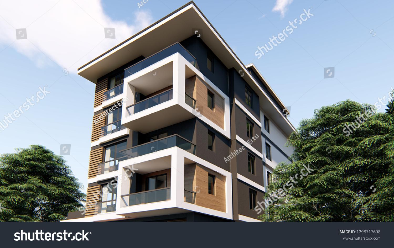 Apartment Exterior Design 3d Illustration Stock Illustration ...