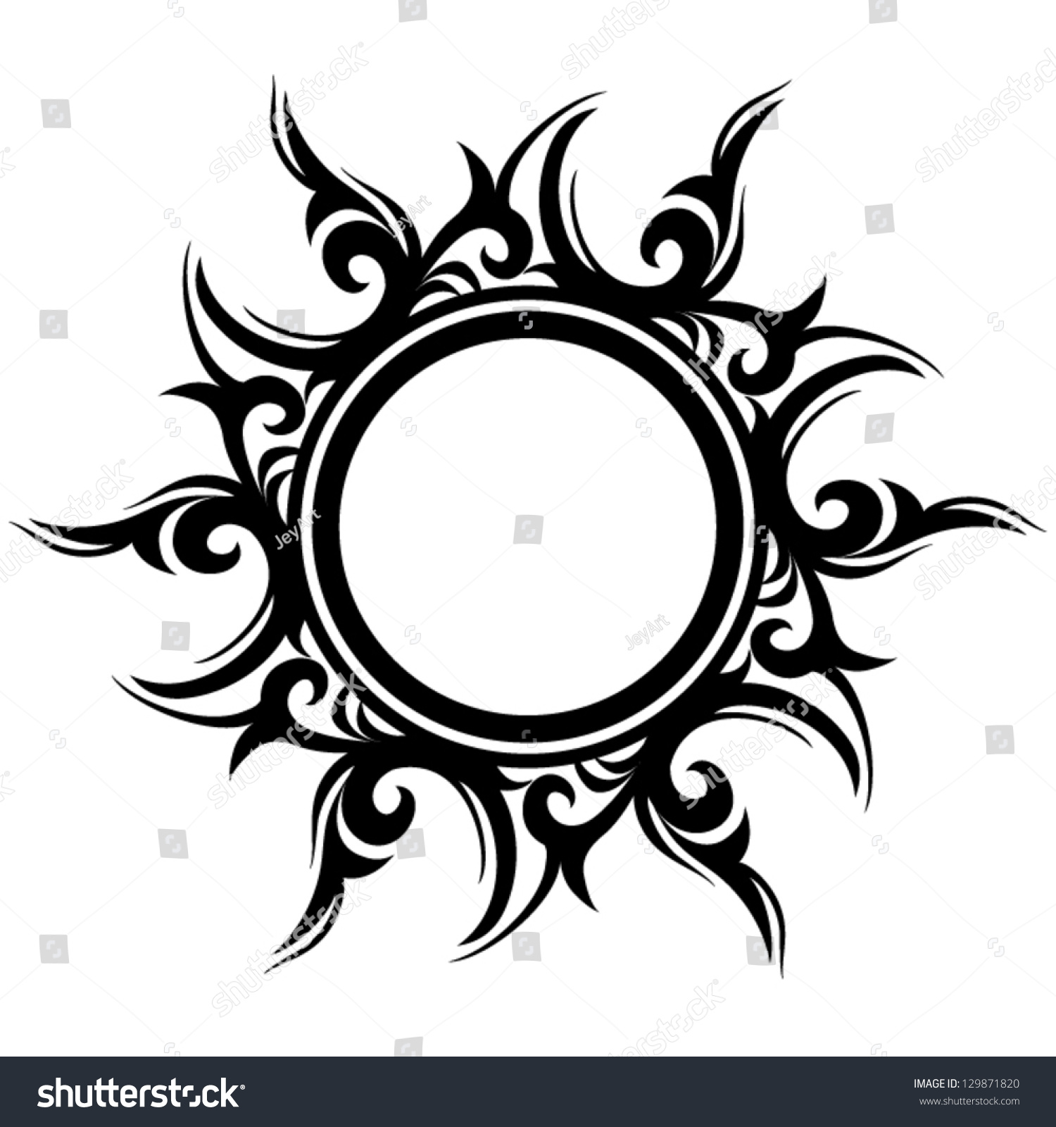 Vector Ornament Abstract Sun Flower Tattoo Stock Vector